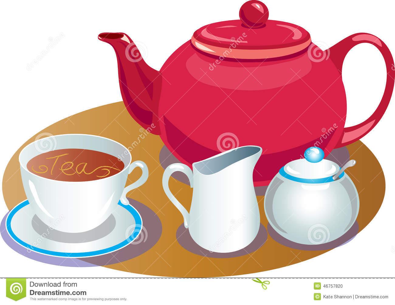 Tea Pot With Cup And Saucer,sugar Basin And Milk Jug Stock Vector.