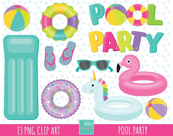 50% SALE POOL PARTY clipart, girl pool party clipart, summer.