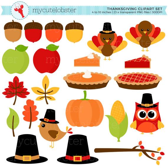 Thanksgiving Clipart Set.