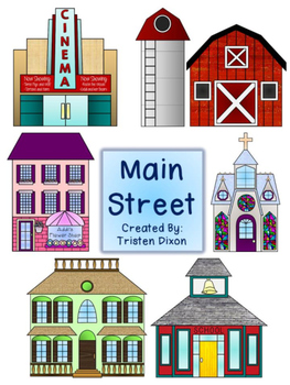 Main Street Small Town Clipart Color & Black and White.