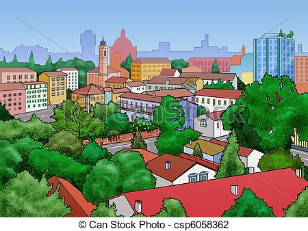 Clip Art of Small town landscape.