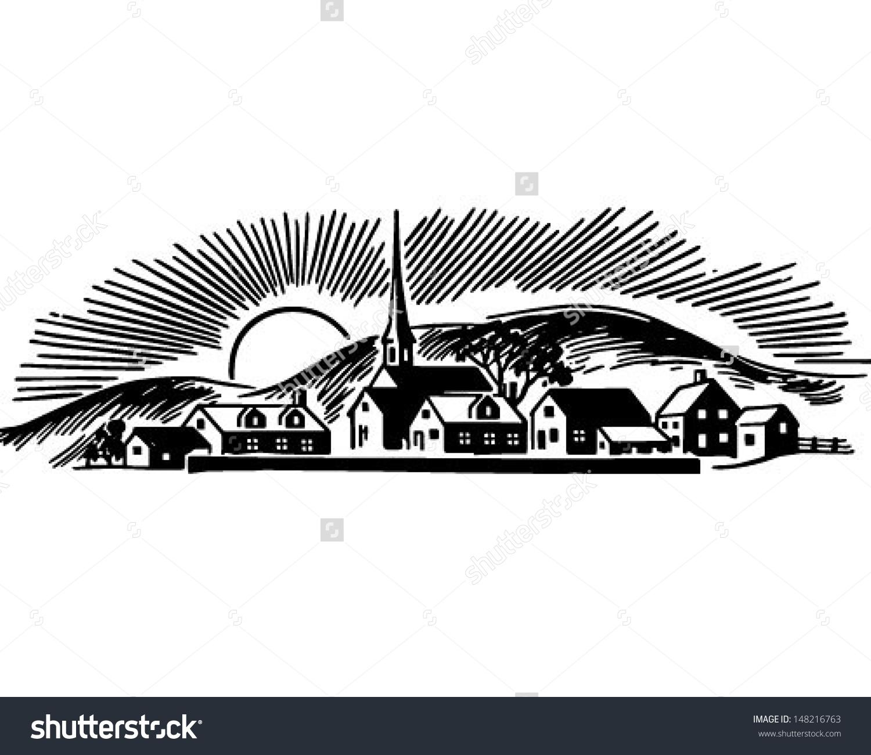 Small Town Retro Clip Art Illustration Stock Vector 148216763.