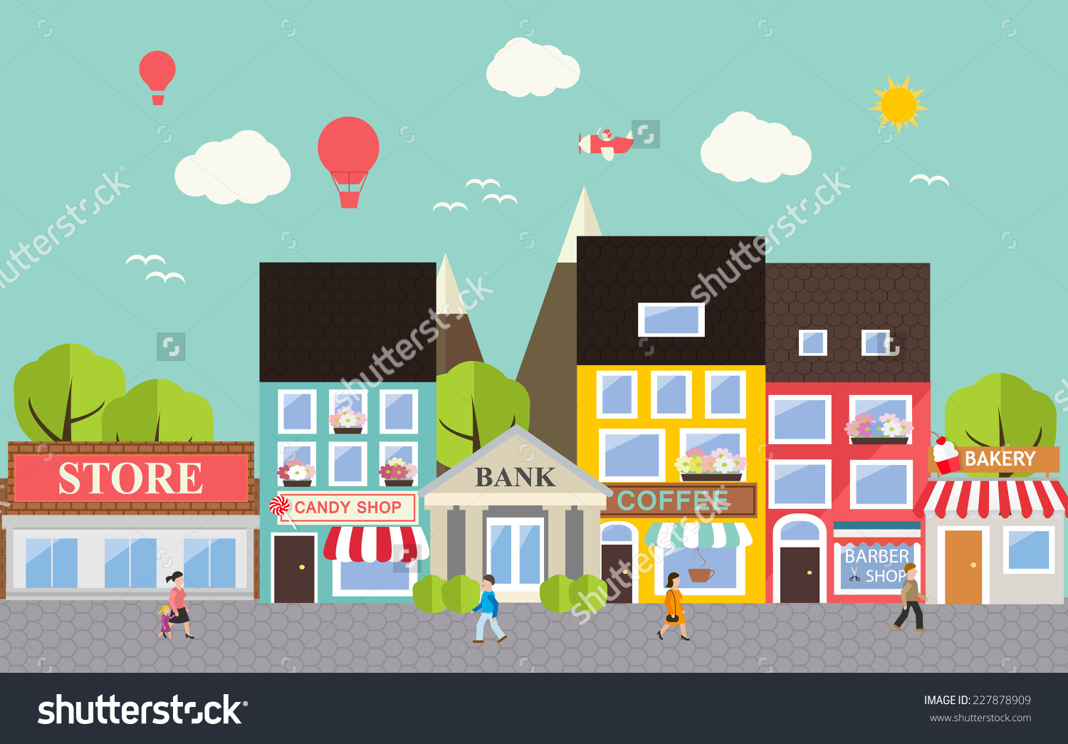 Town Landscape Vector Illustration: Small Town Clipart