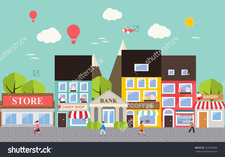 Small Town Urban Landscape Flat Design Stock Vector 227878909.