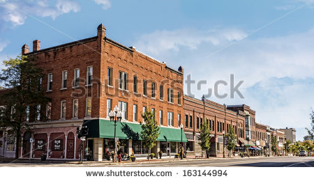 Small Town Tree Lined Main Street Clipart.