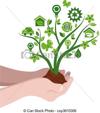 Clip Art Vector of Eco tree in a pot.