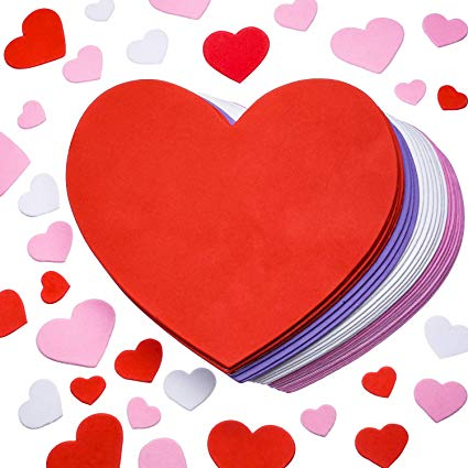 Chengu 24 Pieces 6 Inches Valentines Large Craft Heart Decor, 300 Pieces  Small Foam Hearts Self Adhesive Hearts Stickers for Valentine\'s Day  Mother\'s.