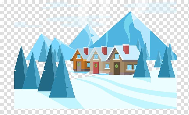 Poster Cartoon Illustration, Winter small village.
