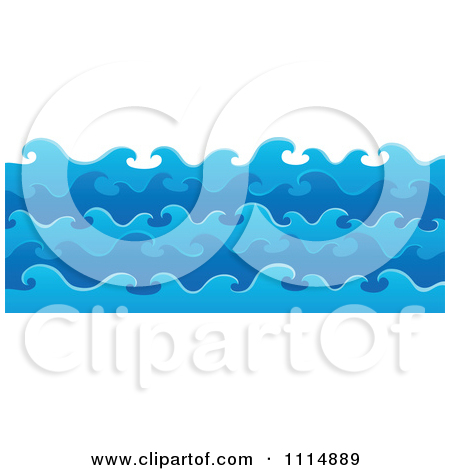 Clipart Blue Ocean Waves And Splashes.