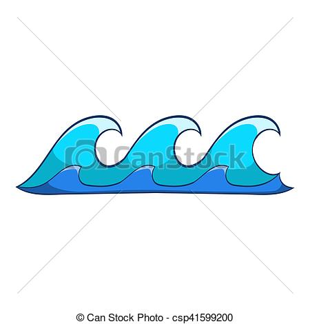 Stock Photography of Small waves icon, cartoon style.