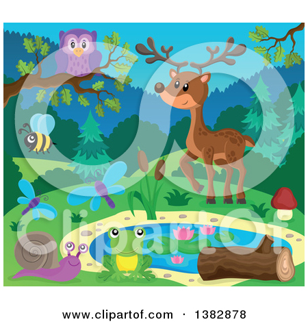 Clipart of a Pond with Wild Animals and Insects.