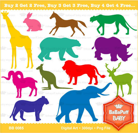 Buy 2 Get 2 Free Wild Animals Silhouette Personal by babapuffbaby.