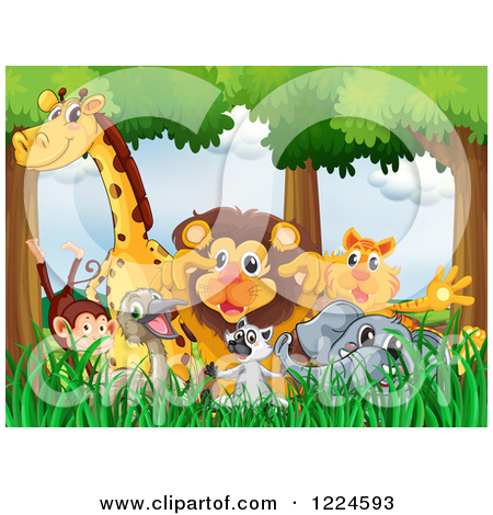 Clipart of Wild Animals in a Jungle.