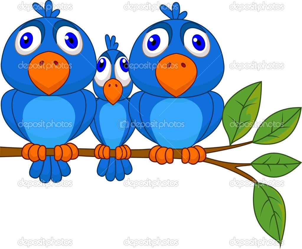 Smaller bird squeezed by bigger bird — Stock Vector © tigatelu.