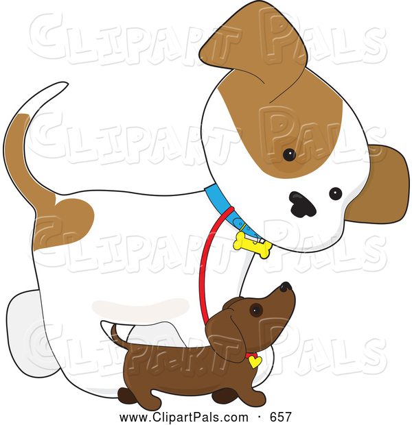 Pal Clipart of a Friendly Cute Puppy Walking Alongside a Smaller.