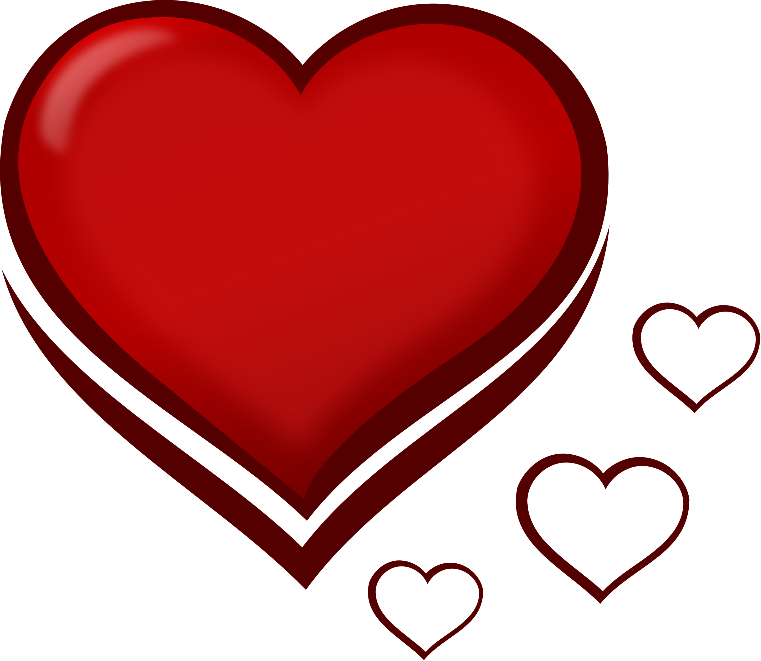 Valentine Red Stylised Heart With Smaller Hearts SVG Clipart.