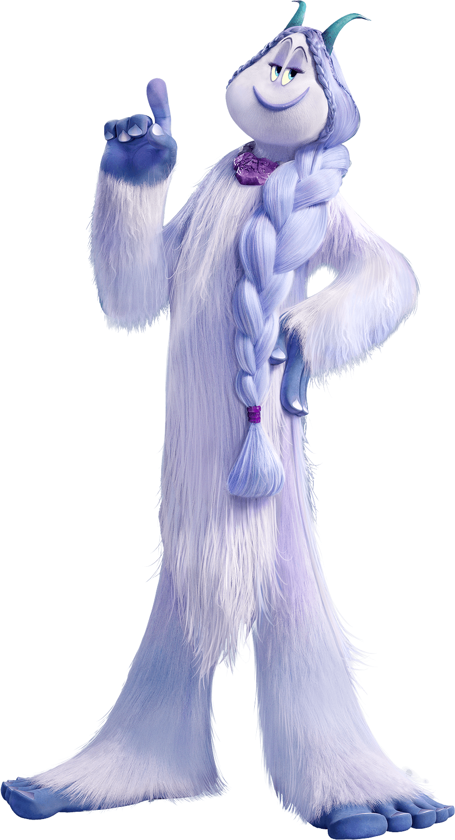 Smallfoot Meechee Yeti Holding Finger Up transparent PNG.