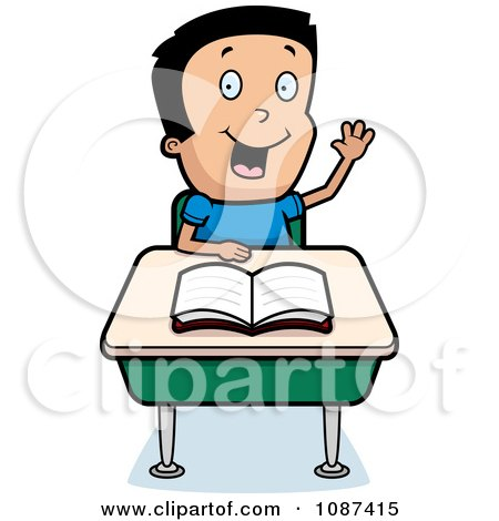 Clipart Smart School Boy Raising His Hand At A Desk.