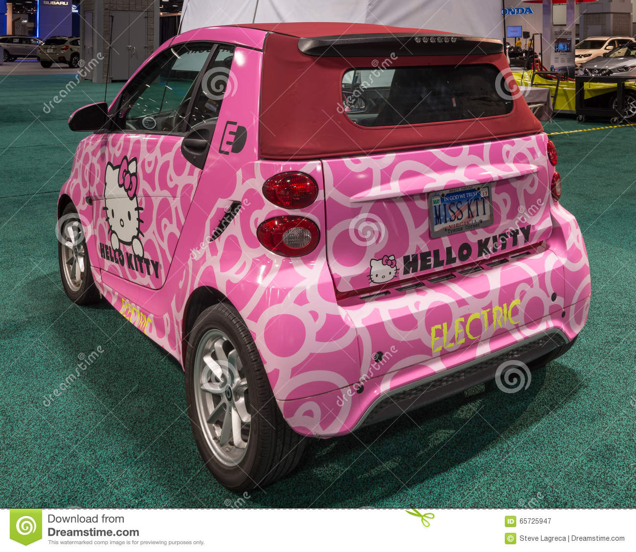 Hello Kitty Smart Fortwo ED Cabrio EV Editorial Photography.