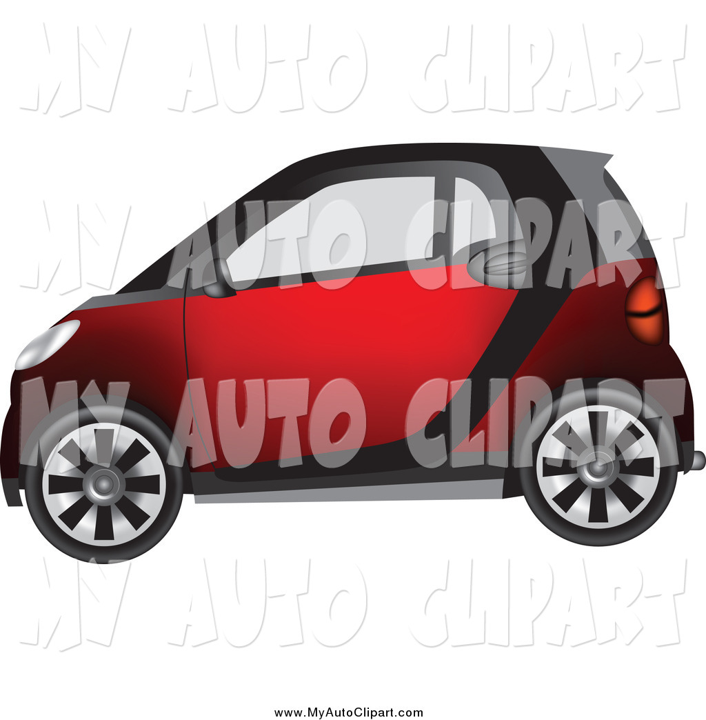 Clip Art of a Tiny Compact Red Smart Car by vectorace.