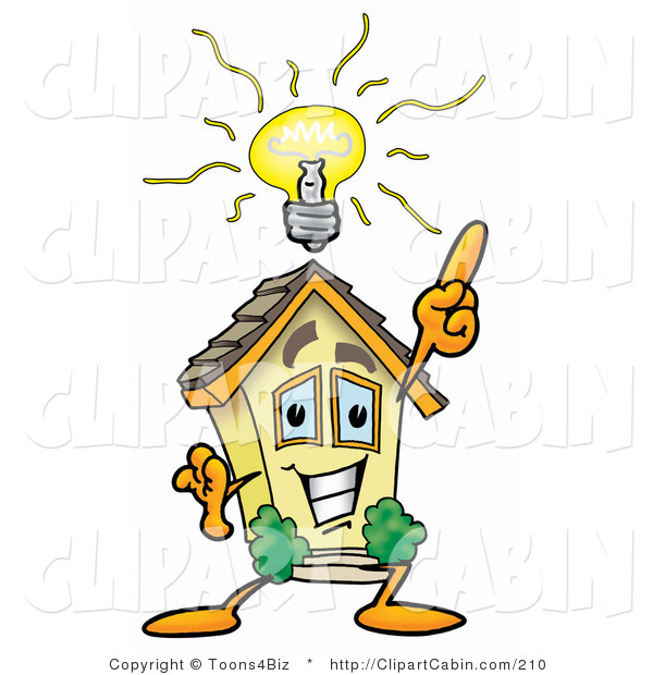 Cartoon Clip Art of a Smart Home Mascot Cartoon Character with a.