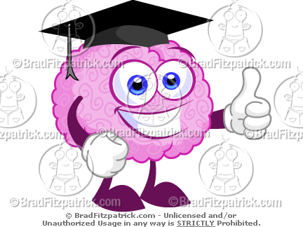 Smart Cartoon Brain Wearing a Graduation Cap Clip Art.