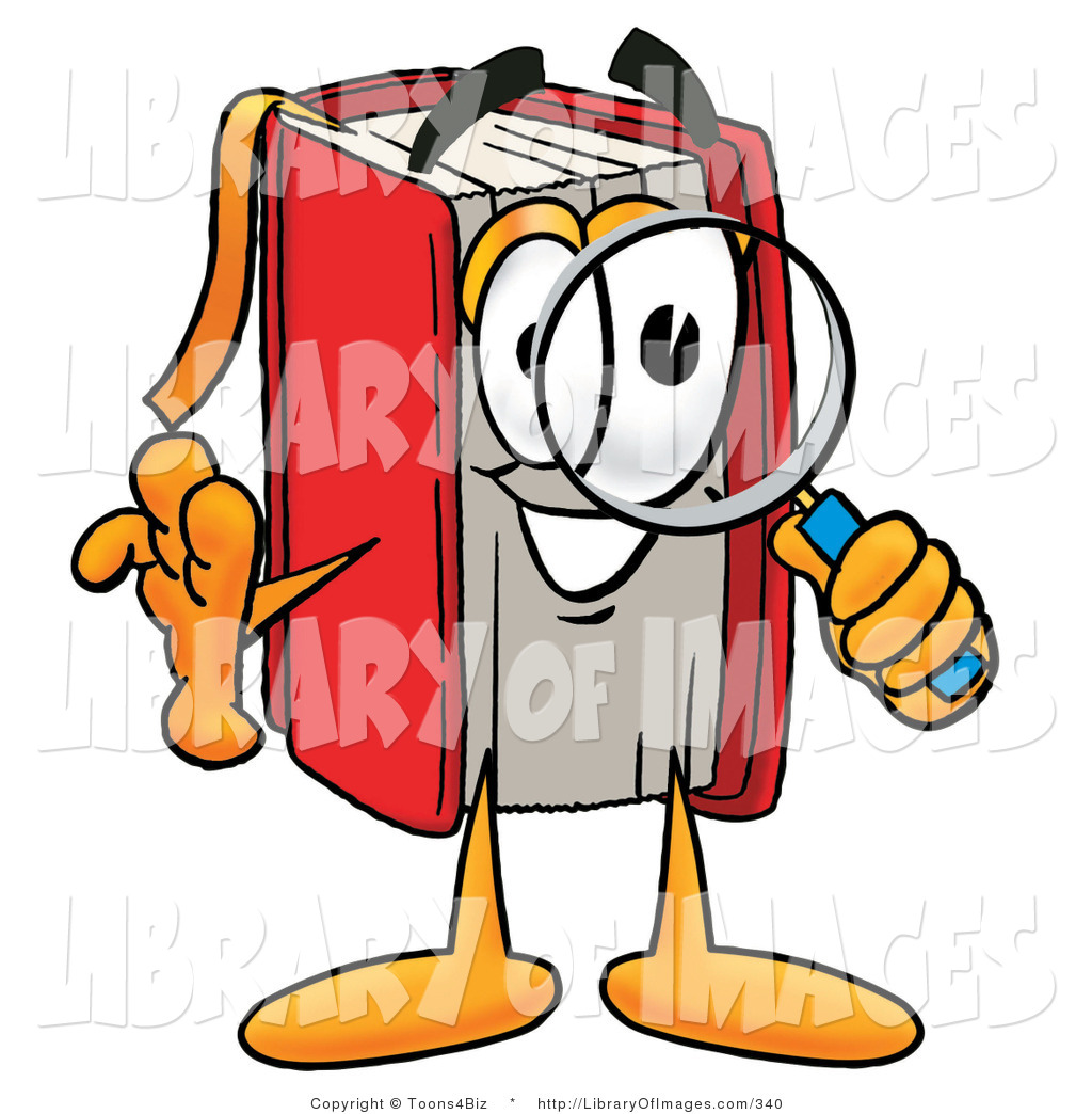 Clip Art of a Smart Red Book Mascot Cartoon Character Looking.