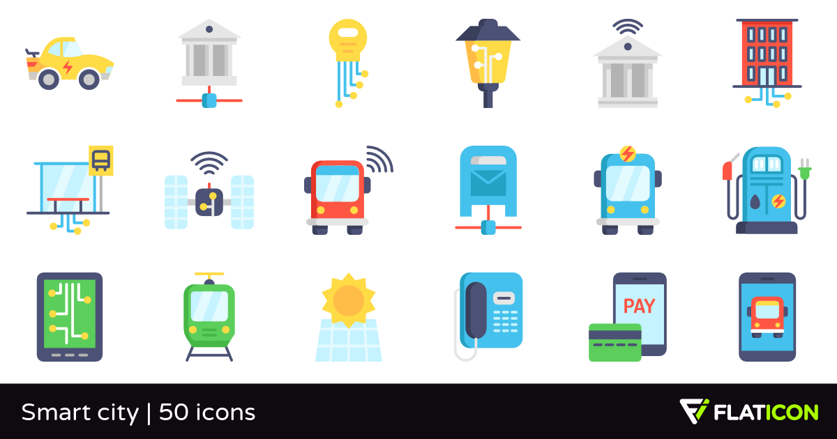 Smart city 50 free icons (SVG, EPS, PSD, PNG files).