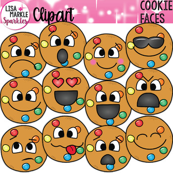 Smart Cookie Candy Clipart with Emoji Faces.