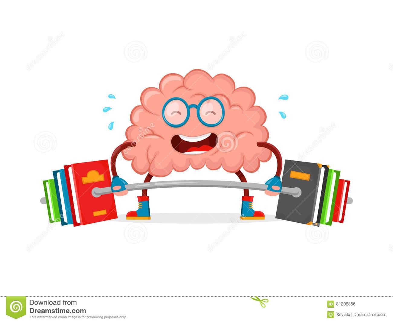 Train Your Brain. Brain Vector Cartoon Fla #103314.