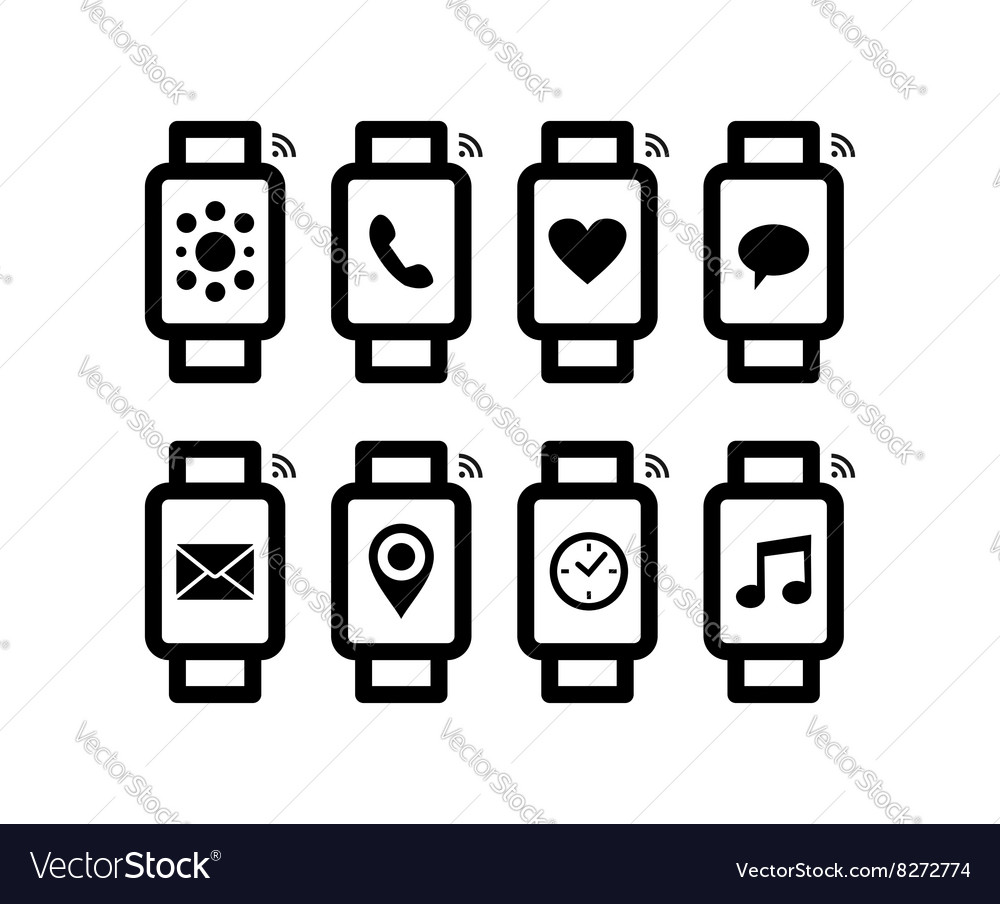 Smart watch design set in line art style with icon.