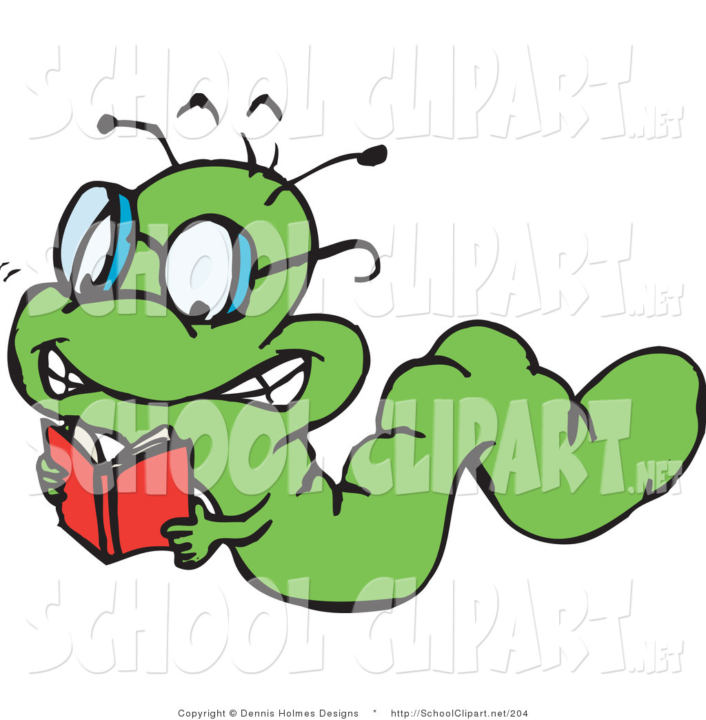 Clip Art of a Smart Green Book Worm Crawling and Reading by.