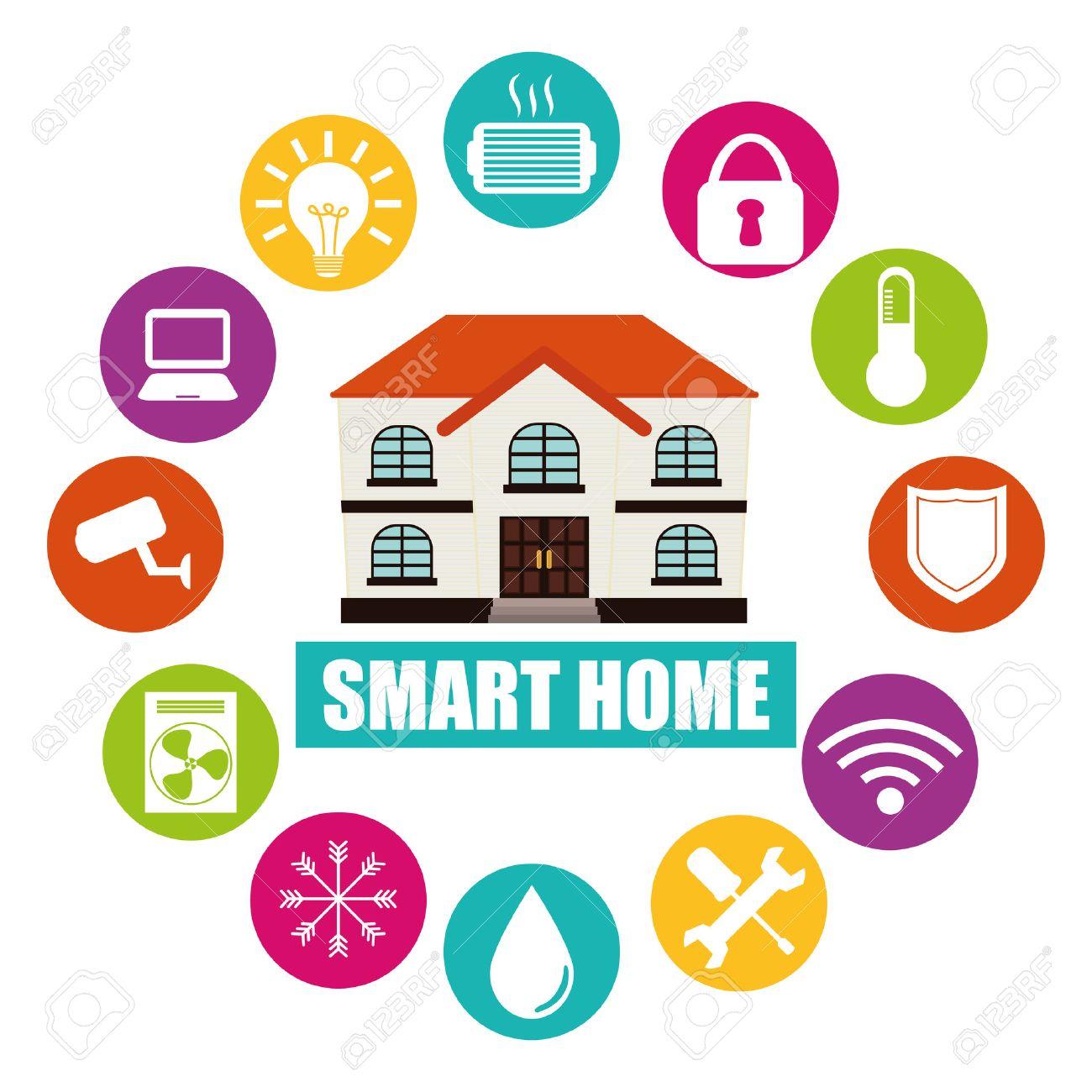 Smart Home Design, Vector Illustration Eps10 Graphic Stock.