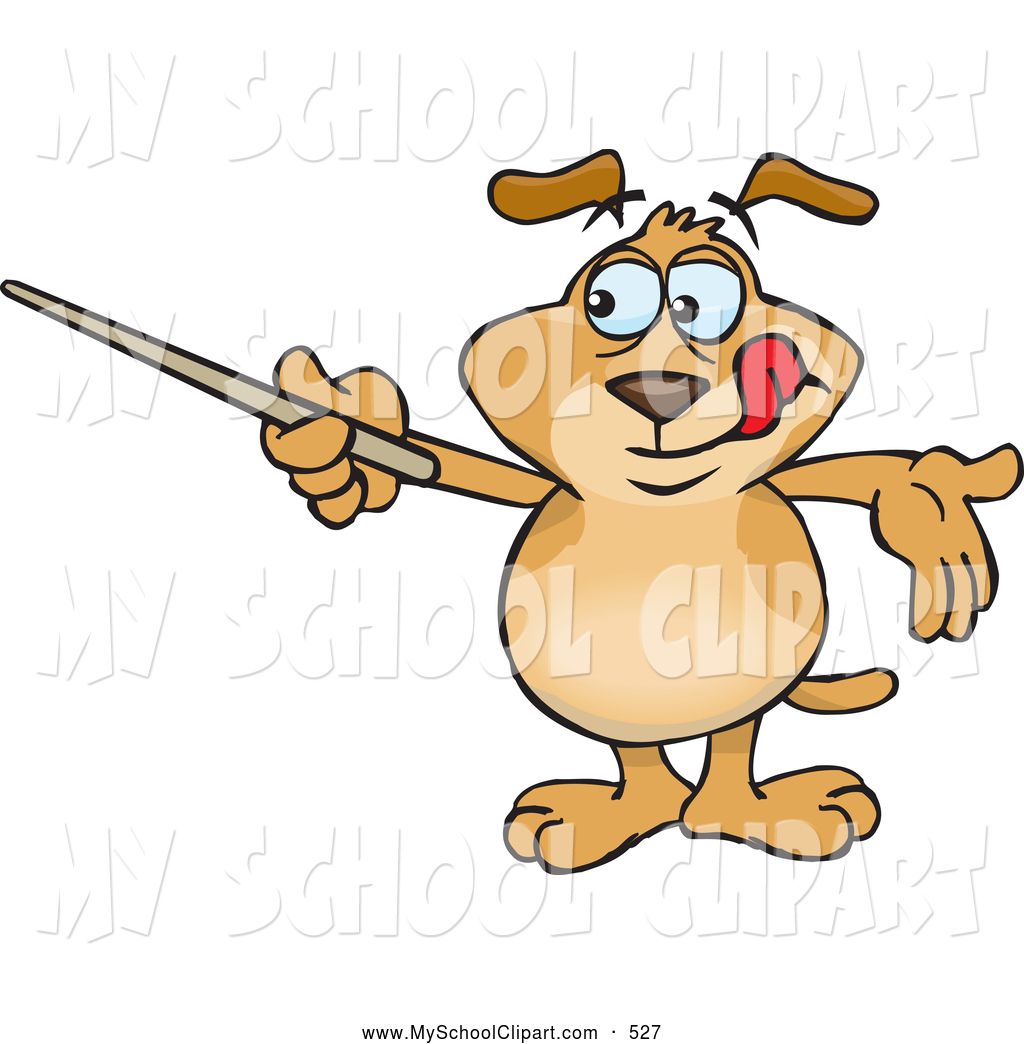 Clip Art of a Smart Brown Dog Canine Holding a Pointer Stick.