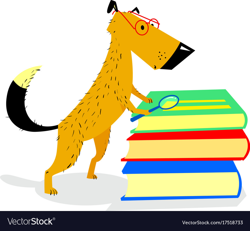 Reading Dog Clipart.