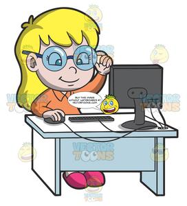 A Young Smart Girl Using The Desktop Computer For Research.