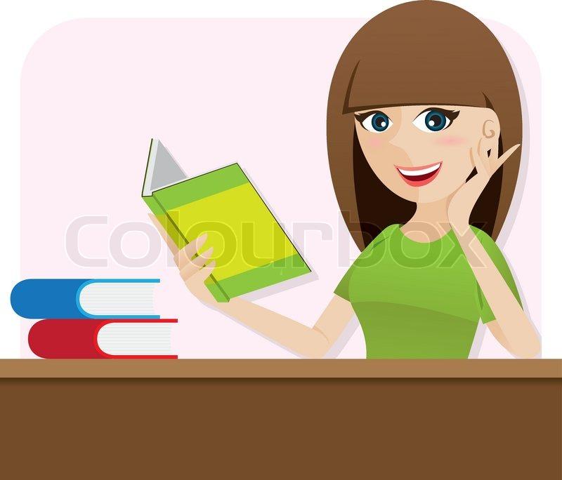 Illustration of cartoon smart girl.