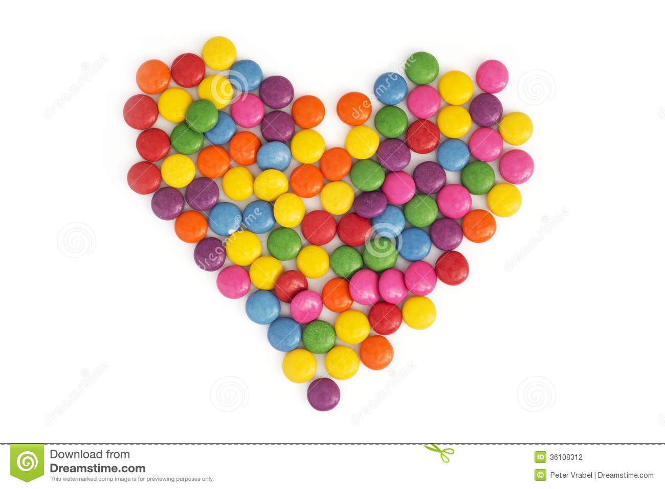 Heart Made Of Colored Smarties Stock Photography.