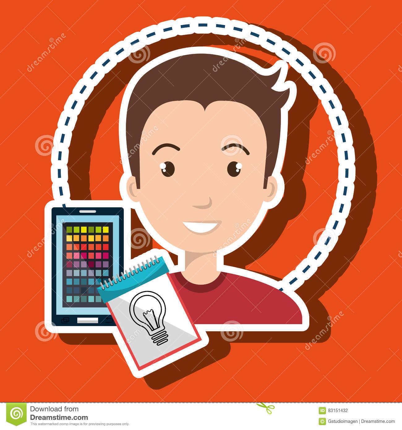 Man Smartphone Color Chart Idea Stock Illustration.