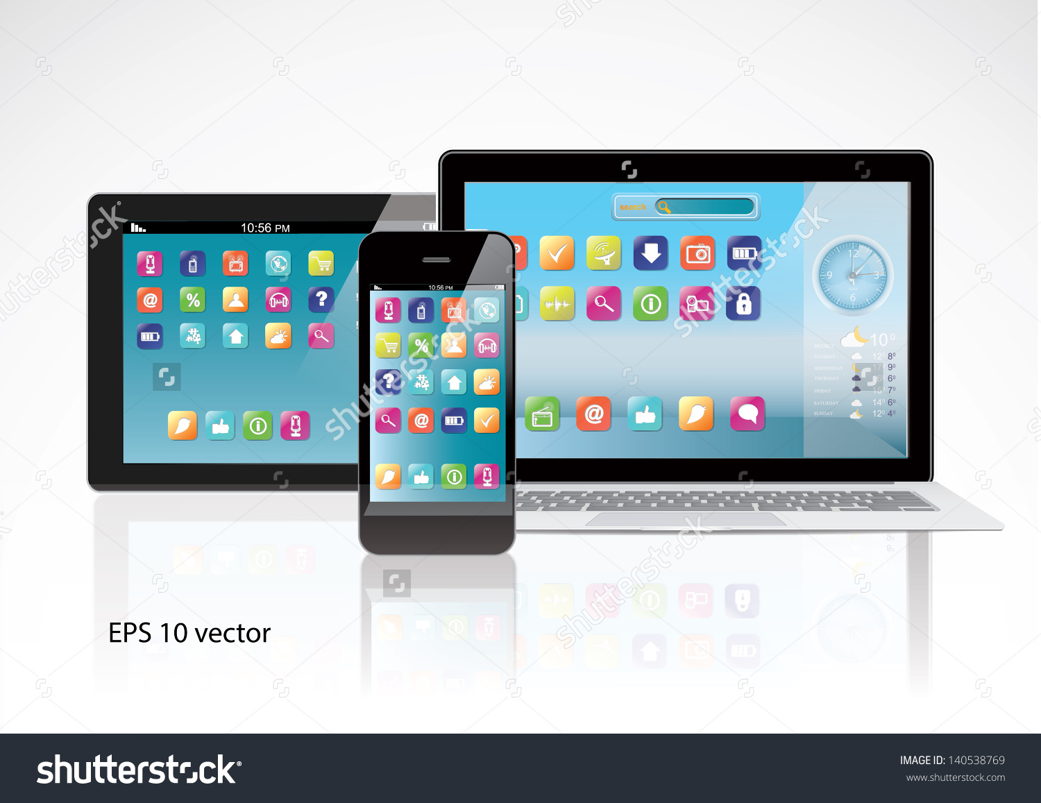 Notebook Tablet Pc Computer Smartphone Color Stock Vector.