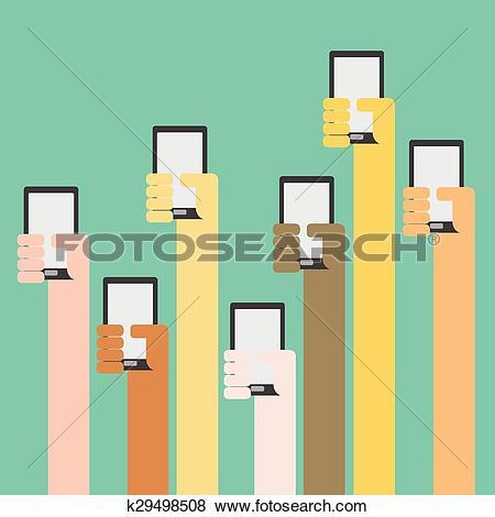 Clip Art of Multi skin color hands raising smartphone k29498508.
