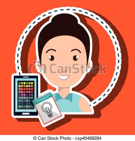 Vector of man smartphone color chart idea vector illustration eps.