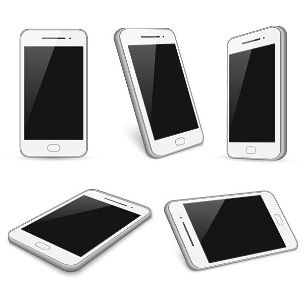 Different Modern Smartphone Color Flat Icons Collection Clip Art.
