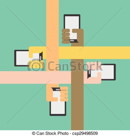 Vector Clipart of Four color arms with smartphone in hand inward.