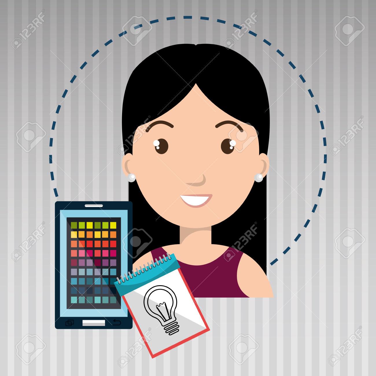 Man Smartphone Color Chart Idea Royalty Free Cliparts, Vectors.