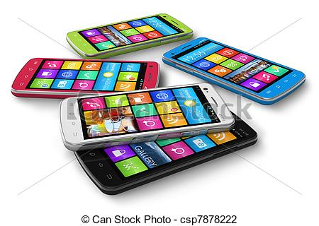 Clip Art of Set of color touchscreen smartphones isolated on white.