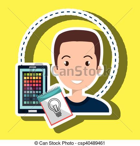 Clip Art Vector of man smartphone color chart idea vector.