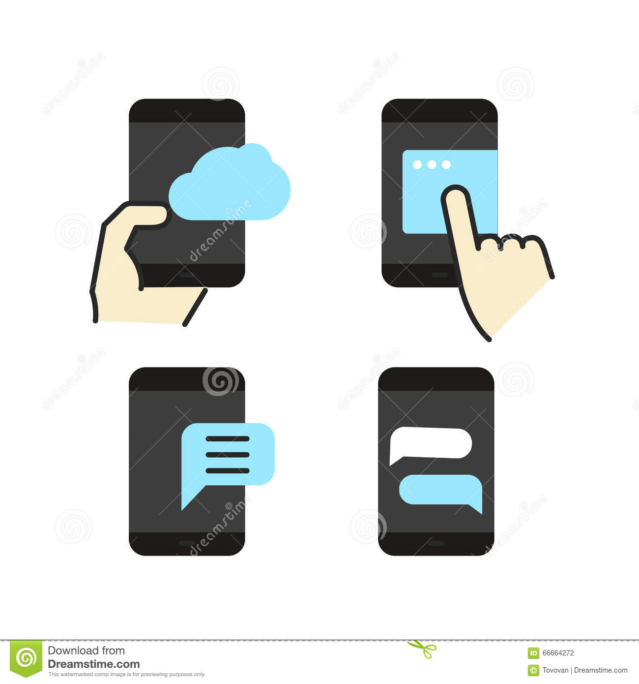 Different Modern Smartphone Color Flat Icons Stock Vector.