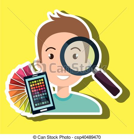 Vectors Illustration of man smartphone color chart idea vector.