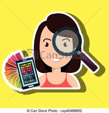 Clipart Vector of man smartphone color chart idea vector.